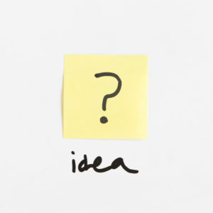 Question mark with idea text